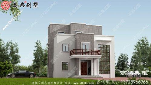 预算30万农村三层住宅设计方案,外观效应图