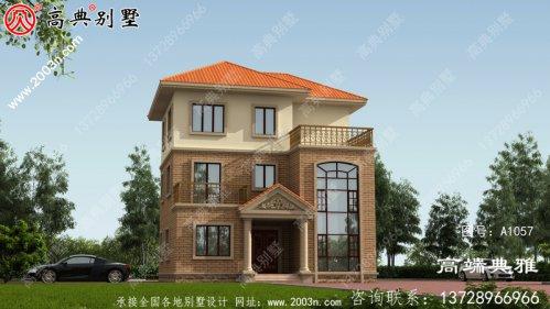复式设计带露台的欧式三层农村别墅设计图纸(含