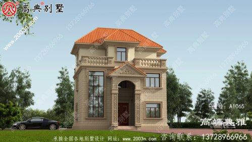 户型方正的欧式三层农村小别墅设计图(包括外观