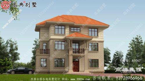 农村三层自建欧式别墅设计图纸,面积108平方米