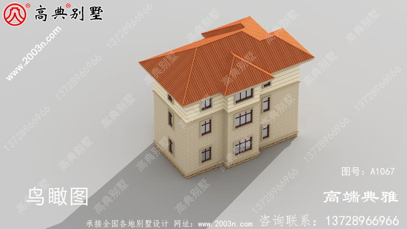农村三层自建欧式别墅设计图纸,面积108平方米。