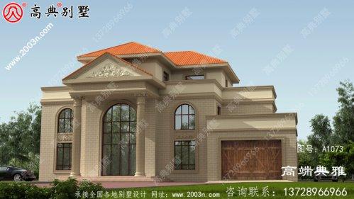 欧式大气三层别墅设计图纸,外形美观,造型大