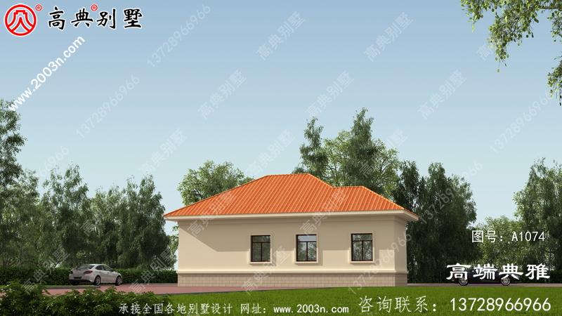 一层别墅设计平面图、平面设计用cad施工图和外观效果图