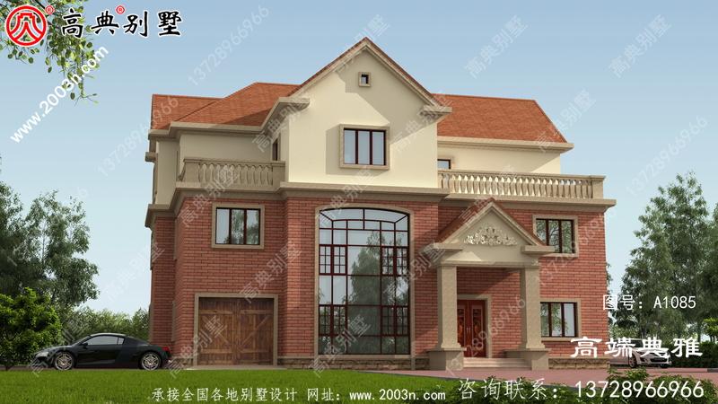 温馨大气的欧式三层别墅设计外观效果图,复式大厅中空