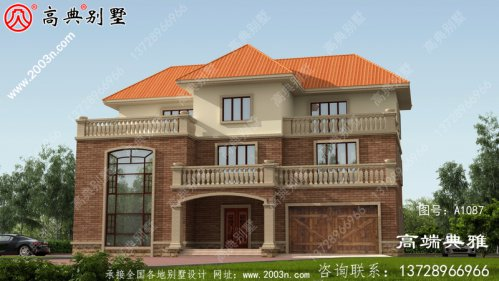 乡村建造三层楼房设计图,带阳台,带车库