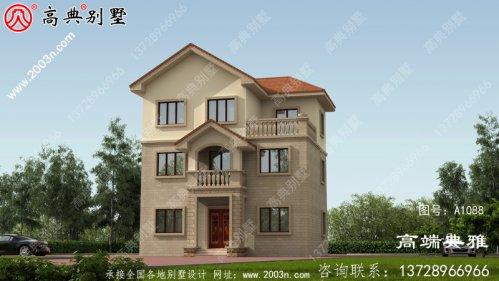 带阳台的简欧自建三层建筑设计经典实用。
