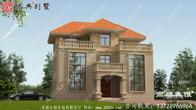 农村四楼别墅设计图纸及效果图,整体风格细节精致