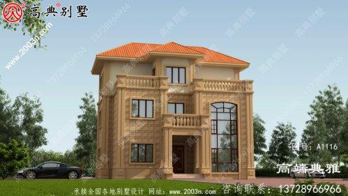 农村私人定制欧式三层住宅设计图,客厅中空
