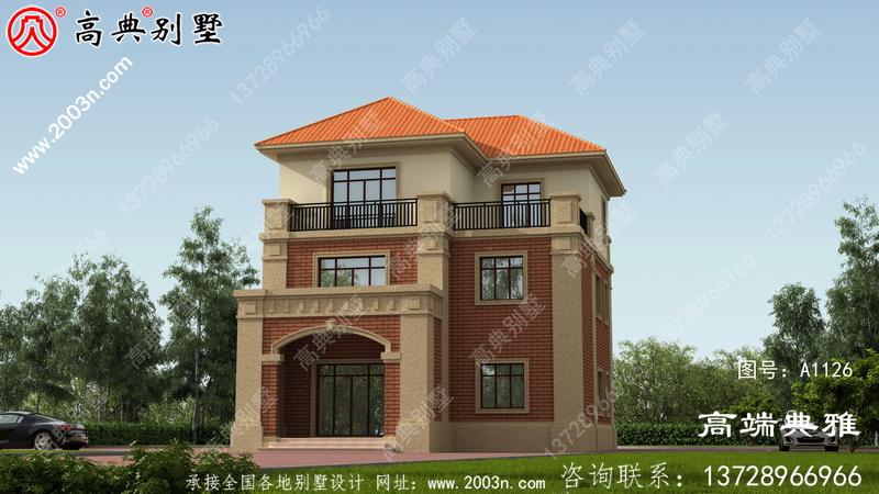 农村自建豪华三层建筑设计图、大露台和健身房及书房