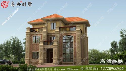 带复式设计的欧式三层别墅外观设计效果图,外