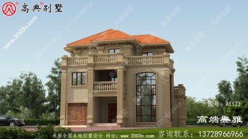 最新款欧式古典三层别墅楼房设计图,外型清爽