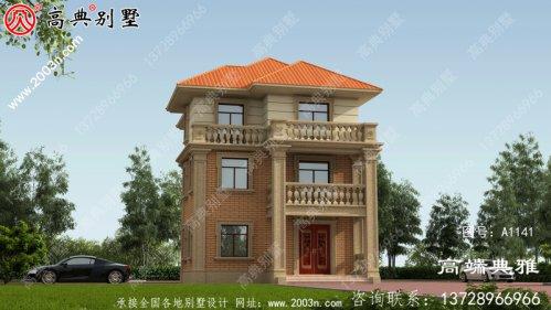 新型欧式三楼别墅大楼设计图,外观清新明亮