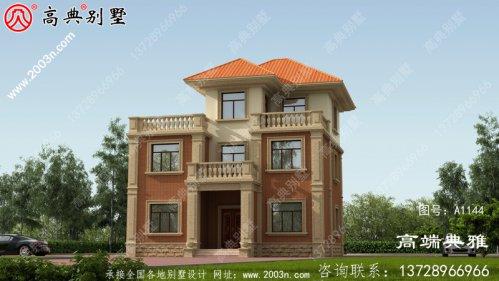 农村三层欧式别墅设计效果图,户型方案典型