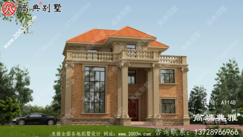 复式设计的欧式三层新农村住宅设
