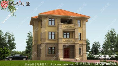 占地125平的欧式三层房屋设计图,新农村住宅图
