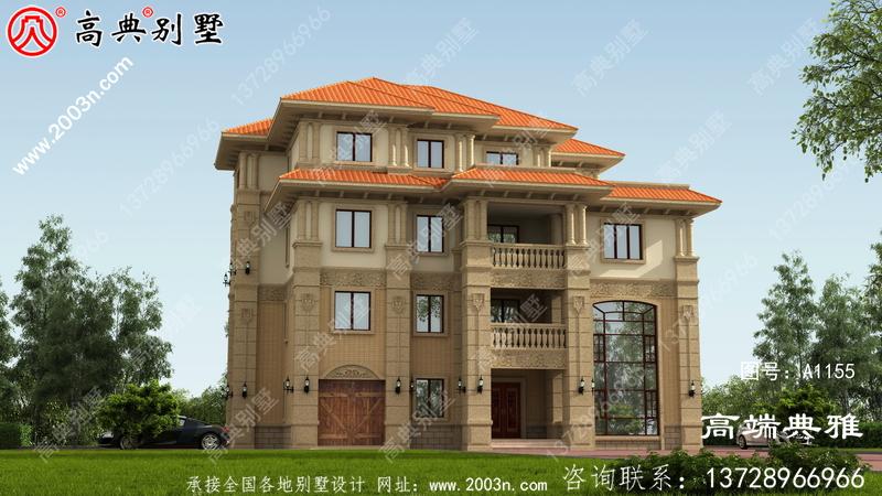 带车库和复式设计的新农村四层古典别墅设计图。