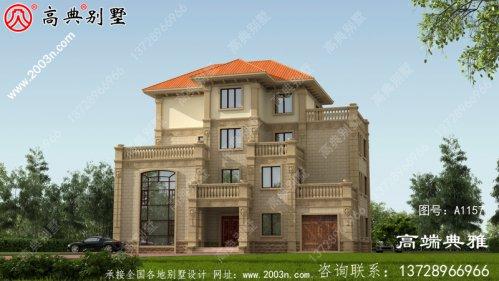 乡村四层大户型房屋设计图,带设计效果图,占