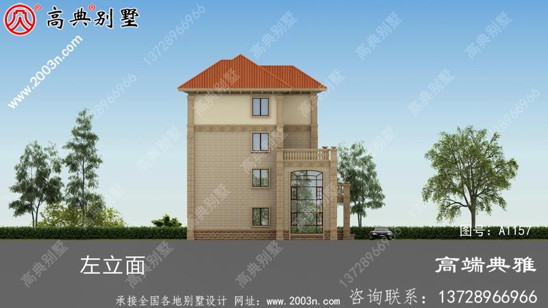乡村四层大户型房屋设计图,带设计效果图,占地面积228平米