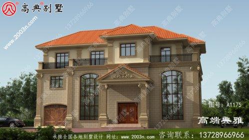 豪华双复式三层欧式别墅设计效果图,带车库