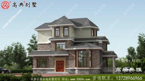 148平新乡村三层房屋设计图,含外型设计效果图