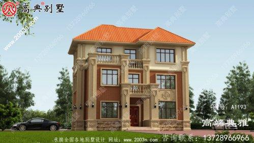 新农村自建简欧三层住宅设计图、外观效果图