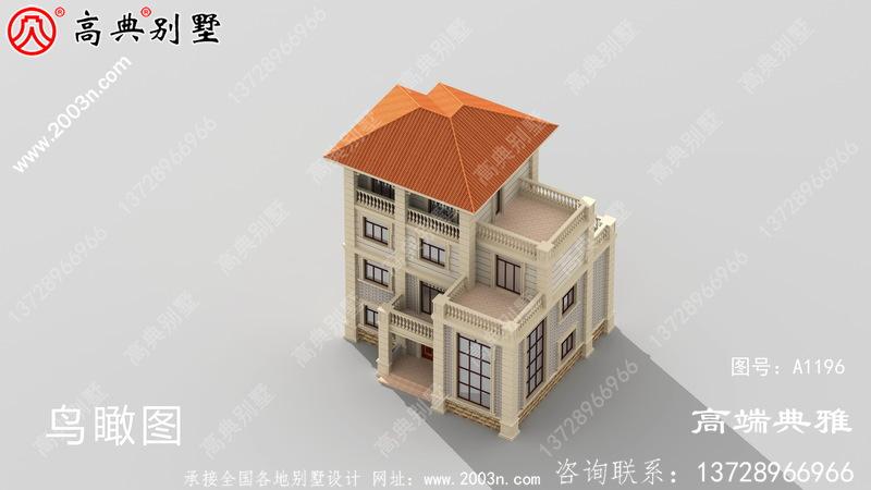 128平米乡村四层别墅设计图纸,含外型设计