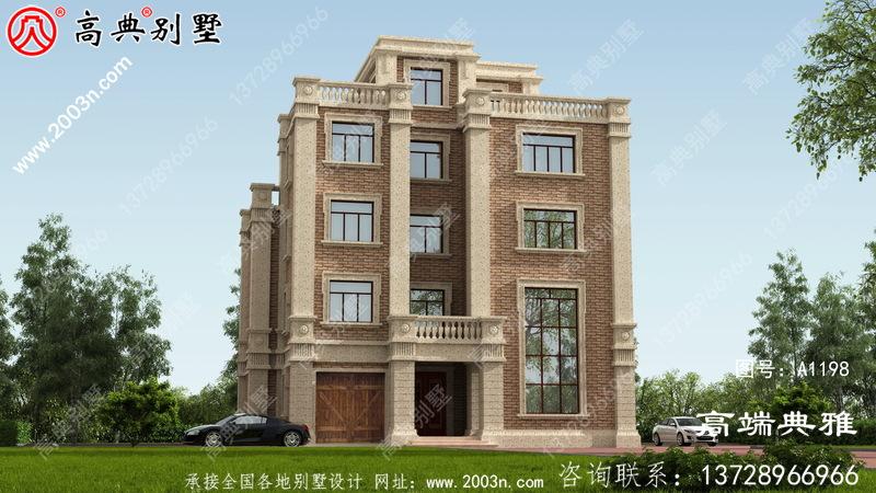 201平大户型五层别墅设计图,包括外观效果图