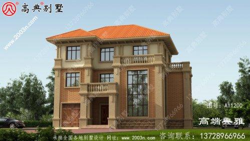三层乡村别墅设计占地162平方米,大气宜人。