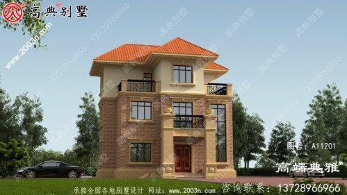 三楼农村小别墅设计图,占地97平