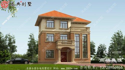 复式设计的高端欧式三层别墅设计图带露台