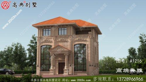 双复式客厅欧式石材三层别墅效果图,体面大气
