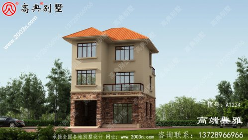 三层新农村自建房屋设计图纸,占地93平米左右