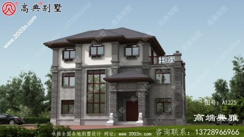 最受欢迎的中式三层别墅设计图纸,占地153平方