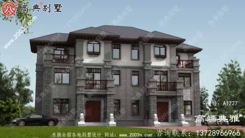 中式三层双拼别墅外观设计效果图,占地237平方