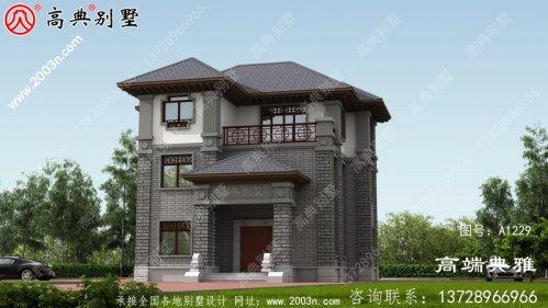 漂亮的农村中式三层小楼房设计图