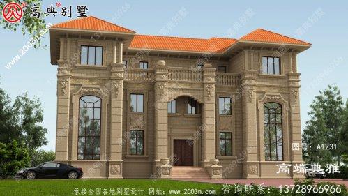 双复式对称设计欧式三层豪华别墅外观设计效果