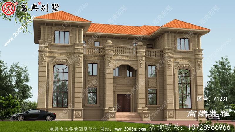 双复式对称设计欧式三层豪华别墅外观设计效果图