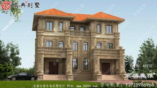 双拼别墅自建房设计图,欧式风格,占地196平方