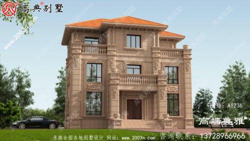 欧式石材三层楼房设计图,带外观图片,新款户