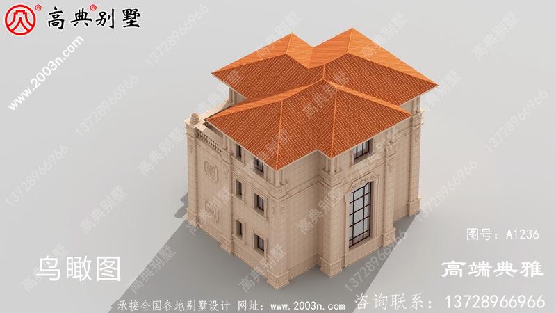 欧式石材三层楼房设计图,带外观图片,新款户型