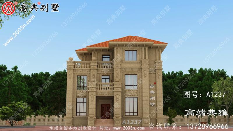 户型好的欧式石材三层楼房设计图,带外观效果图