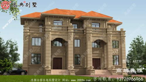 带露台的欧式石材双拼三层别墅外观设计效果图