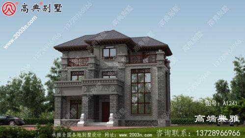 中式三层别墅复式住宅设计图及外观效果图