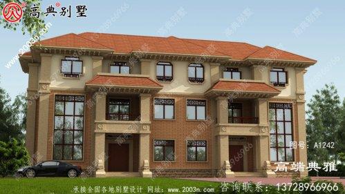 复式双拼的欧式三层别墅设计效果