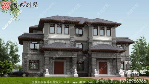 双拼中式三层别墅外观设计效果图,占地247平方