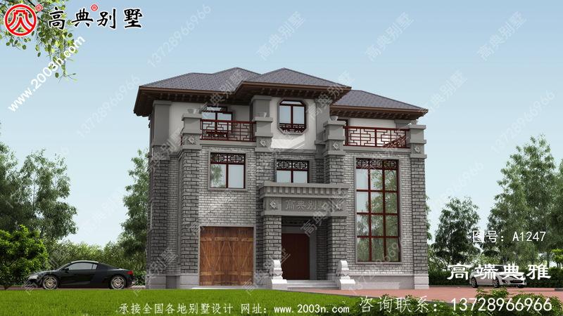 中式三层楼房设计图纸,带房子设计效果图