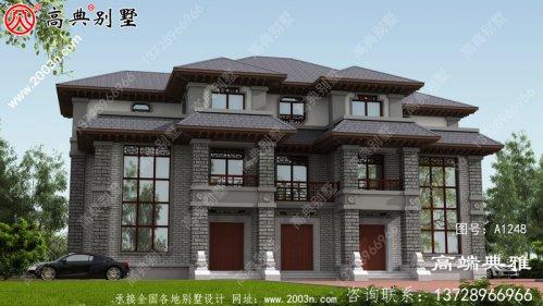 新农村中式双拼三层建筑设计图,