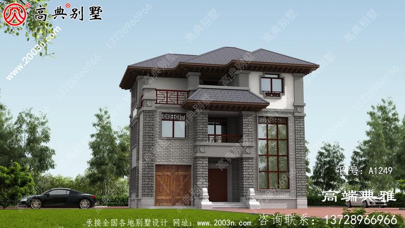 农村自建中式三层楼设计图、房屋效应图带车库