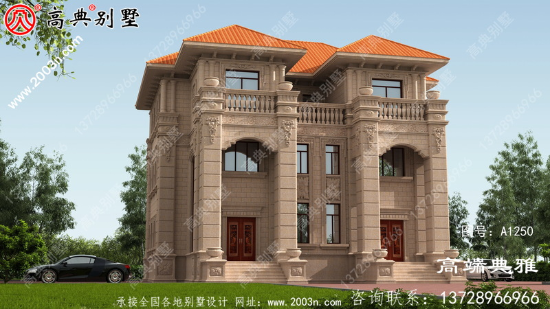 乡村欧式石材双拼三层楼房设计图纸,占地223平