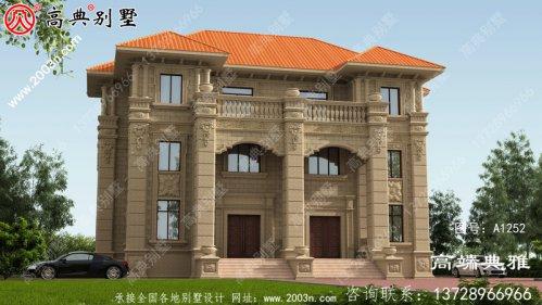 大户型豪华欧式石材三层别墅设计图,占地222平